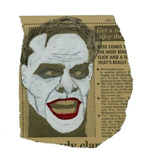 """This image released by Metropolis Collectibles, Inc. shows a drawing of actor Jack Nicholson as The Joker in Tim Burton's 1989 """"Batman,"""" drawn by film producer Michael Uslan over a photo of the actor as Jack Torrance from the film """"The Shining,"""" that was printed in The New York Post in 1980. The sketch went up for auction on Monday, Nov. 12, 2012 through ComicConnect.com, along with several other pieces of art and comics that Uslan has collected.  The auction will continue until Dec. 3. (AP Photo/Metropolis Collectibles, Inc.)"""