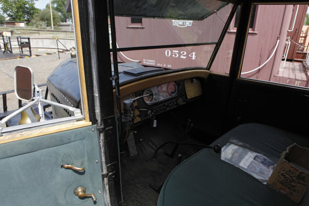This May 31, 2012 photo shows the drivers side of Golden Goose # 7. The Pierce-Arrow limos has no steering wheel. Six out of seven of the Galloping Geese that were built by the railroads in the 1930s