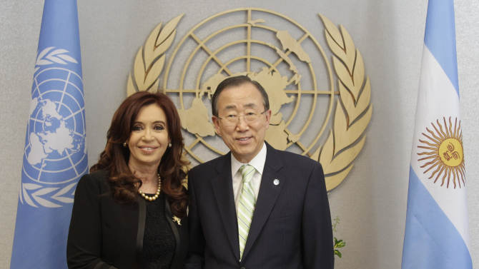 Agentina's President Cristina Fernandez de Kirchner, left, meets United Nations Secretary-General Ban Ki-moon,  Thursday, June 14, 2012 at United Nations headquarters. Argentina's president is pressing her country's claim to the FalklandIslands with a high-profile appearance Thursday before a little-known U.N. committee on the 30th anniversary of Britain's ouster of an Argentine invasion force. (AP Photo/Mary Altaffer)