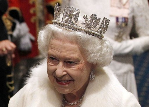 The Queen wears the Diadem crown in May. The crown will be on display as part of the exhibition at Buckingham Palace