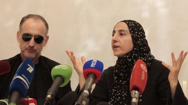 Zubeidat Tsarnaeva, the mother of the Boston bombing suspects, and the suspects' father Anzor Tsarnaev, speak at a news conference in Dagestan on April 25.