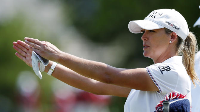 Cristie Kerr checks her direction on the 13th tee during the first round of the U.S. Women's Open golf tournament, Thursday, July 5, 2012, in Kohler, Wis. (AP Photo/Jeffrey Phelps)