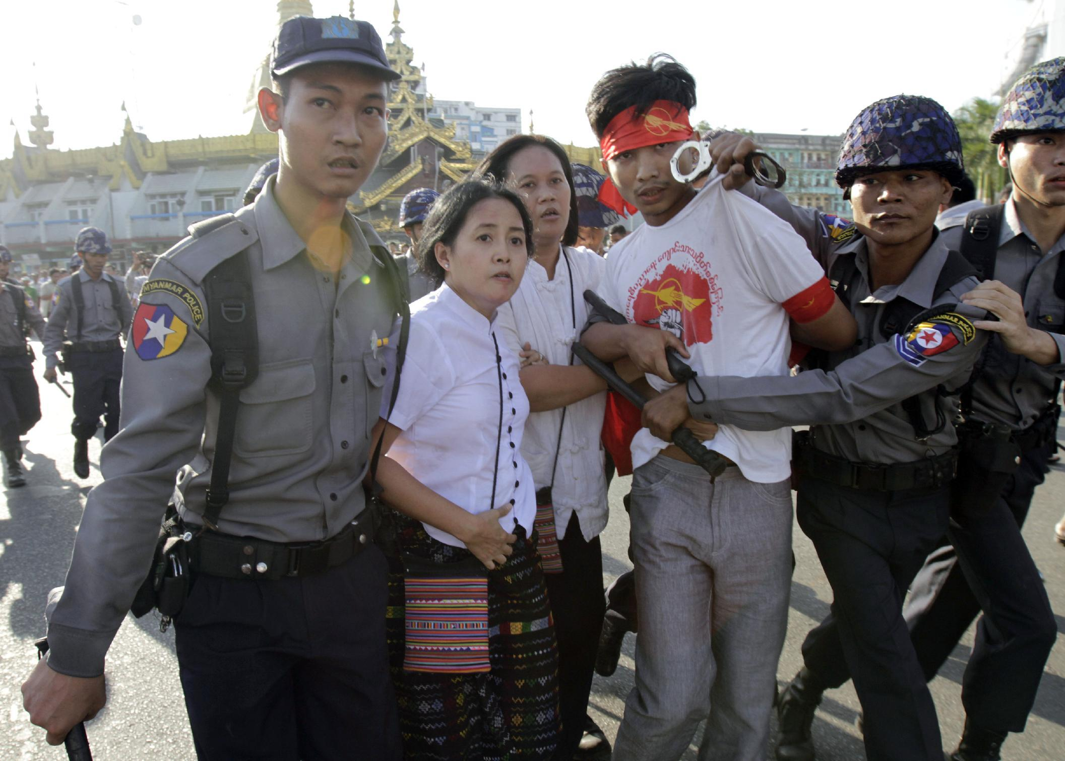Myanmar cracks down on education protest at Yangon pagoda
