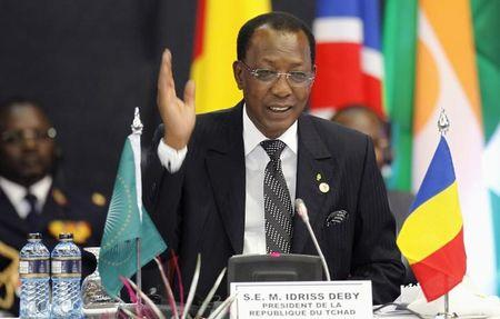 Chad's President Deby addresses the Africa Union Peace and Security Council Summit on Terrorism at the KICC in Nairobi