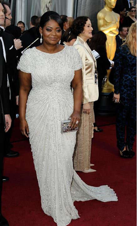 Octavia Spencer arrives before the 84th Academy Awards on Sunday, Feb. 26, 2012, in the Hollywood section of Los Angeles. (AP Photo/Matt Sayles)