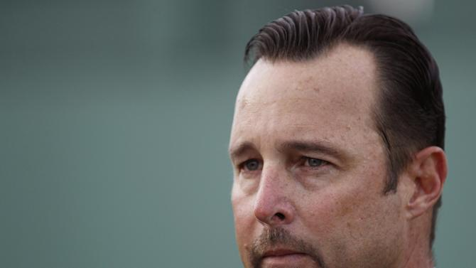 Boston Red Sox pitcher Tim Wakefield announces his retirement during a news conference at the Red Sox's baseball spring training complex Friday, Feb. 17, 2012, in Fort Myers, Fla. (AP Photo/David Goldman)