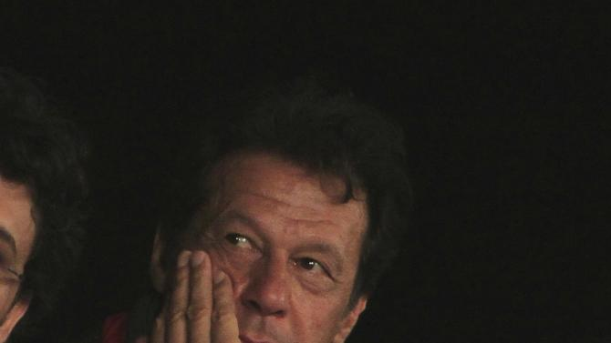 "Khan, chairman of the opposition Pakistan Tehreek-e-Insaf (PTI) political party, is seen during what has been dubbed a ""freedom march"" in Islamabad"