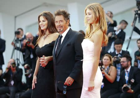 "Cast members Al Pacino, Lucila Sola and Camila Sola attend the red carpet for the movie ""Manglehorn"" at the 71st Venice Film Festival"