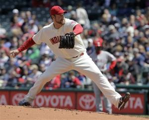 Indians' Lowe beats error-prone Angels 4-0