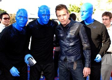 Ewan McGregor with Blue Man Group at the Westwood premiere of 20th Century Fox's Robots