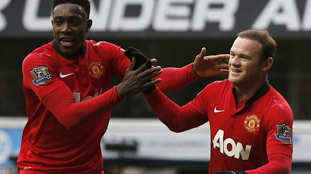 Danny Welbeck and Wayne Rooney celebrate