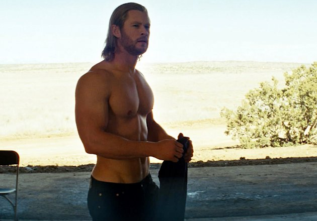 "Shirtless Chris Hemsworth in ""Thor"""