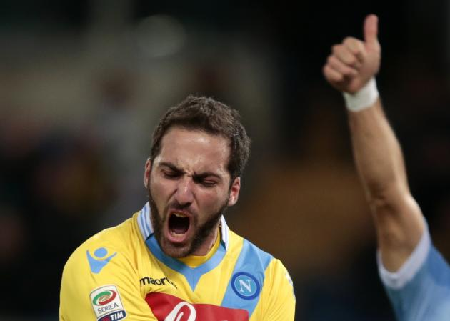 Napoli's Higuain reacts during their Italian Serie A soccer match against Lazio at the Olympic stadium in Rome