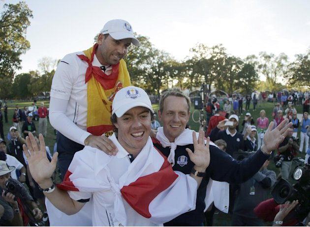 Sept. 30 Europe's Sergio Garcia, Rory McIlroy and Luke Donald celebrate after winning the Ryder Cup PGA golf tournament Sunday, Sept. 30, 2012, at the Medinah Country Club in Medinah, Ill. (AP Pho