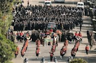 A funeral procession transporting the coffin of Ethiopian Prime Minister Meles Zenawi is pictured in Addis Ababa. Tens of thousands of Ethiopians mourned the late strongman Meles Zenawi, in the first state funeral staged for a leader of the Horn of Africa nation in more than 80 years