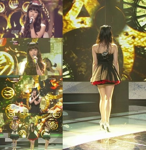 IU performing on KBS 2TV 'Music Bank' in a black mini dress
