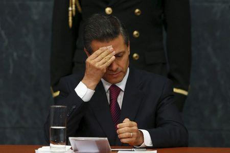 Mexico's President Pena Nieto gestures during an investment announcement from brewer Grupo Modelo in Merida in Yucatan state, at Los Pinos Presidential house in Mexico City
