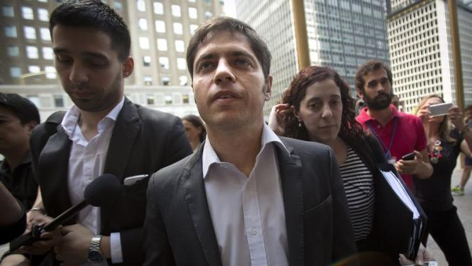 Argentina's Economy Minister Kicillof arrives at the office of a court-appointed mediator in New York