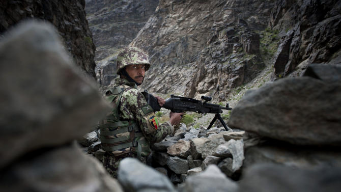 An Afghan Army soldier takes position on a road leading from Kabul to Jalalabad, Afghanistan, Monday, April 15, 2013. Despite questions about the ability of the Afghan army to successfully take the fight to the insurgency,  U.S. and coalition military officials say that the nascent force has made great strides in the past year and has surpassed many of their expectations. (AP Photo/Jawad Jalali)