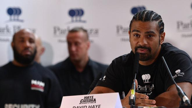 British Boxer David Haye (R) Speaks  AFP/Getty Images