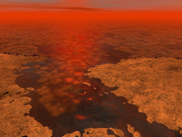 Unexplained readings from the Cassini probe, which orbits Saturn, hint that blocks of ice might bob on the surface of the lakes of liquid methane on Titan.