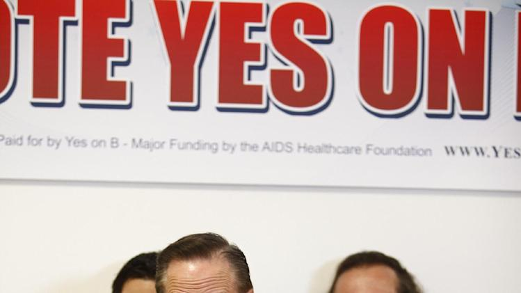 Michael Weinstein, AIDS Healthcare Foundation, President & Measure B Proponent optimistically speaks to the passing of masseur B  at the AIDS Healthcare Foundation Election Headquarters victory party on Tuesday, November 6, 2012 in Los Angeles, California. (Joe Kohen /AP Images for AIDS Healthcare Foundation) Early results show strong support for Measure B