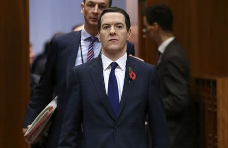 Britain's Chancellor of the Exchequer Osborne arrives at an EU finance ministers meeting in Brussels