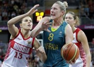 Australia's Suzy Batkovic (8) looks to shoot around Russia defender Anna Petrakova (13)during a preliminary women's basketball game at the 2012 Summer Olympics, Friday, Aug. 3, 2012, in London. (AP Photo/Eric Gay)