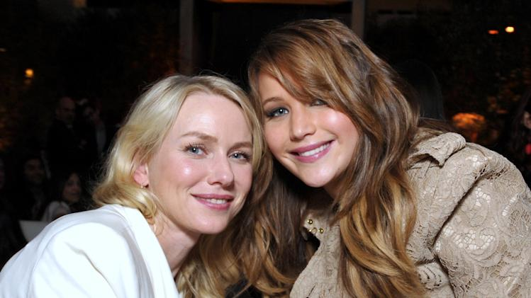 IMAGE DISTRIBUTED FOR THE HOLLYWOOD REPORTER - Naomi Watts, left, and Jennifer Lawrence attend The Hollywood Reporter Nominees' Night at Spago on Monday, Feb. 4, 2013, in Beverly Hills, Calif. (Photo by John Shearer/Invision for The Hollywood Reporter/AP Images)