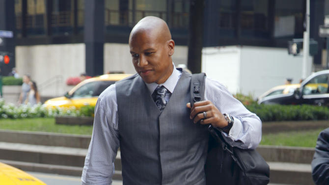 Washington Wizard's Maurice Evans arrives for a meeting with the NBA owners' labor relations committee and the players' union executive committee on Friday, Sept. 30, 2011 in New York. AP Photo/Bebeto Matthews)