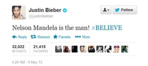 Justin Bieber Weighs in on Nelson Mandela: He's 'the Man!'