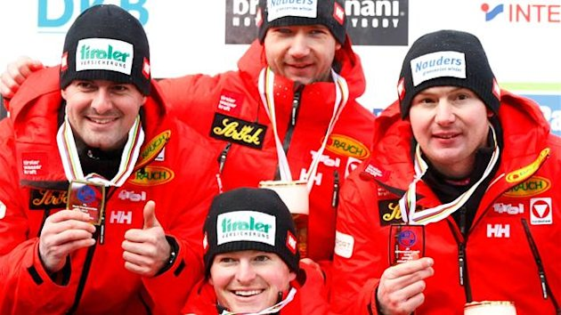 LUGE Austria's Andreas (L) and Wolfgang Linger (2nd L) and compatriots Georg Fischler (C) and Peter Penz (R)