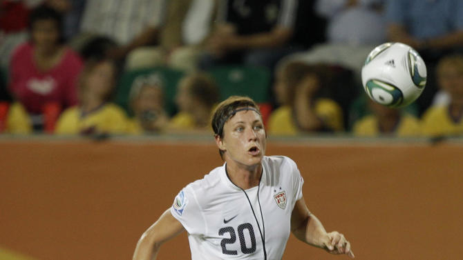 United States' Abby Wambach controls the ball during the group C match between Sweden and the United States at the Women's Soccer World Cup in Wolfsburg, Germany, Wednesday, July 6, 2011. (AP Photo/Marcio Jose Sanchez)