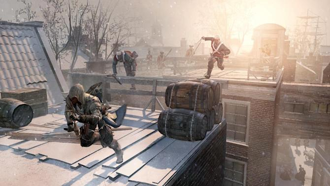 "FILE - This video game image released by Ubisoft shows an assassin fleeing across the rooftops of colonial New York in a scene from ""Assassin's Creed III.""  A pair of assassins, a horde of zombies and an intergalactic commander are facing off against a scarf-clad wanderer at the 2012 Spike Video Game Awards. ""Assassin's Creed III,"" ""Dishonored,"" ""The Walking Dead: The Game"" and ""Mass Effect 3"" are competing to become game of the year against ""Journey,"" the artsy downloadable game that leads the 10th annual ceremony's nominees with seven nods. (AP Photo/Ubisoft, File)"