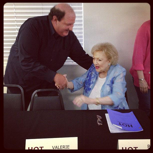 Betty White Yahoo! TV Instagram: Meeting the very funny Brian Baumgartner!! -Betty #bettywhite #brianbaumgartner #hotlive #hotincleveland #tvland #theoffice #kevinmalone