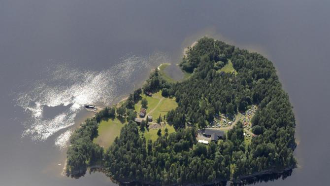 This Thursday, July 21, 2011 aerial view shows Utoya Island, Norway. On Friday, July 22, 2011, a man dressed as a police officer opened fire at the island youth camp connected to the ruling party. (AP Photo/Mapaid, Lasse Tur)