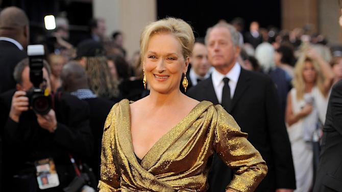 Meryl Streep arrives before the 84th Academy Awards on Sunday, Feb. 26, 2012, in the Hollywood section of Los Angeles. (AP Photo/Chris Pizzello)
