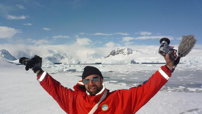 In this November 2010 photo released by PR By The Book, Michael Wigge is seen in Antarctica at the end of a 25,000-mile trip that began in Berlin. Wigge embarked on his journey without a penny in his pocket, hitchhiking, bartering and working his way through 11 countries. He kept a video diary of the trip that has been turned into a series airing on some PBS stations in May and June 2012. (AP Photo/PR By The Book, Michael Wigge)