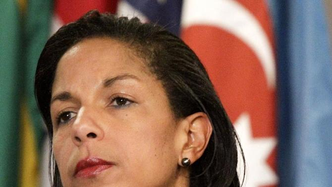 FILE - This June 7, 2012 file photo shows U.S. Ambassador to the U.N. Susan Rice listening during a news conference at the UN. Rice has withdrawn from consideration for secretary of state.  (AP Photo/Bebeto Matthews, File)