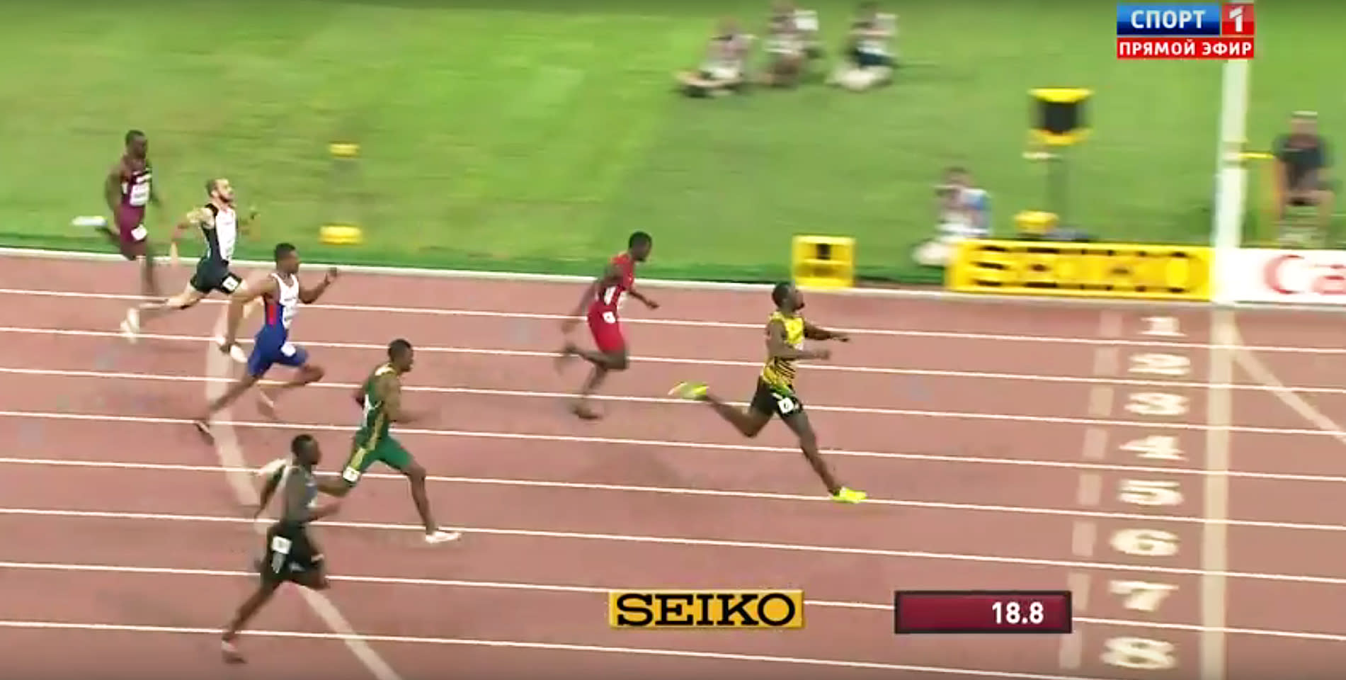 Usain Bolt starts jogging before the finish line, still destroys everyone in the 200 meters