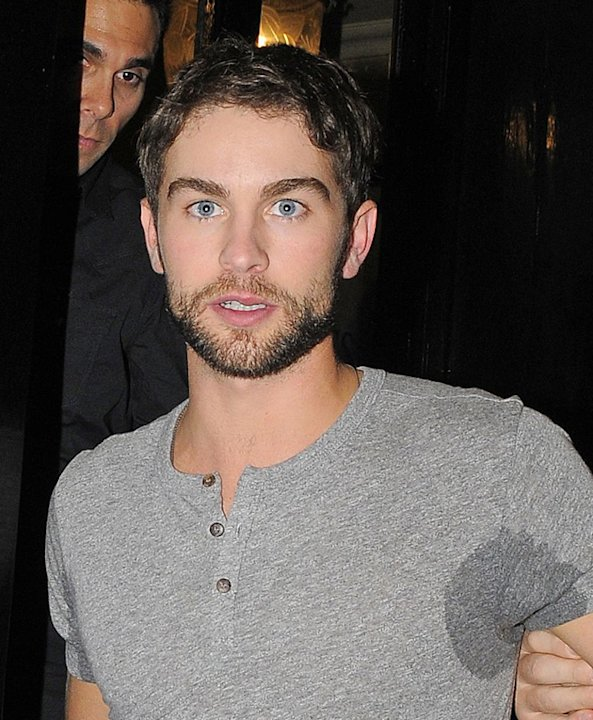 Celebrity photos: Chace Crawford seemed to have a very good time at the What to Expect When You're Expecting after party, emerging with some pretty impressive sweat patches. He still looks hot though.
