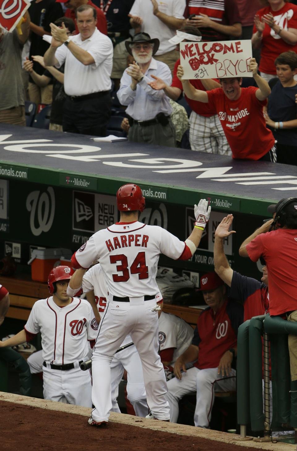 Washington Nationals Bryce Harper is greeted at dugout by teammates after hitting a solo homer against the Milwaukee Brewers starting pitcher Yovani Gallardo in the first inning of a baseball game at Nationals Park, Monday, July 1, 2013, in Washington. (AP Photo/Pablo Martinez Monsivais)