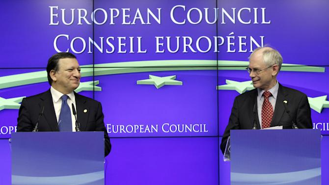"FILE - In this Friday, Dec. 9, 2011 file photo European Council President Herman Van Rompuy, right, and European Commission President Jose Manuel Barroso participate in a media conference at an EU summit in Brussels. The European Union was awarded on Friday Oct. 12, 2012 the Nobel Peace Prize for its efforts to promote peace and democracy in Europe, in the midst of the union's biggest crisis since its creation in the 1950s. The Norwegian prize committee said the EU received the award for six decades of contributions ""to the advancement of peace and reconciliation, democracy and human rights in Europe.  (AP Photo/Virginia Mayo, File)"