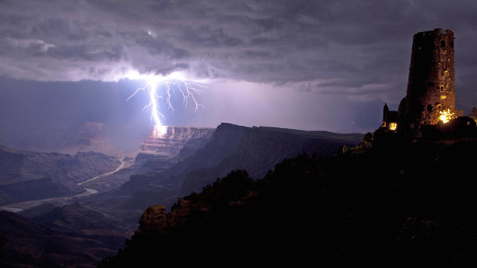 Lightning striking Grand Canyon