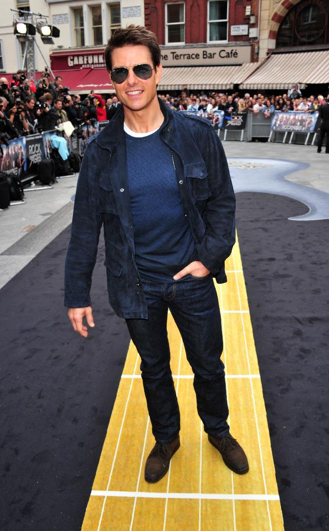 "Tom Cruise arrives at the ""Rock of Ages"" European premiere at Odeon West End on Sunday June 10, 2012, in London. (Photo by Jon Furniss/Invision/AP)"