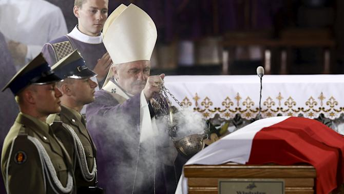 Cardinal Nycz conducts a funeral mass for Wladyslaw Bartoszewski at the Cathedral Basilica of St. John the Baptist in Warsaw