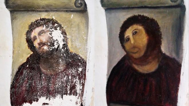 Tourists are flocking to the Spanish church where this lovable monstrosity (right) hangs.