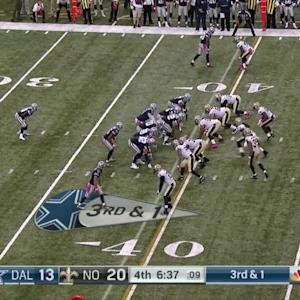 New Orleans Saints DE Bobby Richardson stops Dallas Cowboys RB Christine Michael on 3rd down