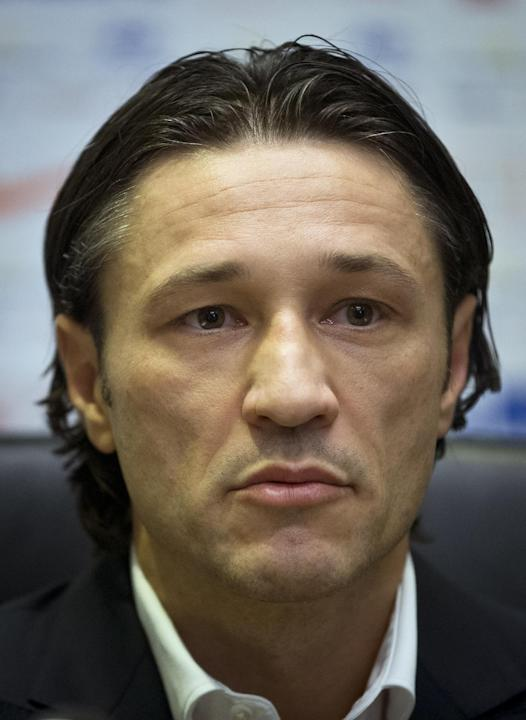 Newly appointed head coach of Croatia's national soccer team Niko Kovac attends a news conference in Zagreb, Croatia, Thursday, Oct. 17, 2013. Kovac succeeded Igor Stimac who was fired after a defeat