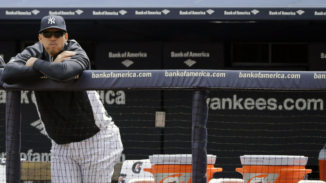 New York Yankees' Alex Rodriguez watches from the bench during an opening day baseball game against the Boston Red Sox, Monday, April 1, 2013, in New York. (AP Photo/Matt Slocum)
